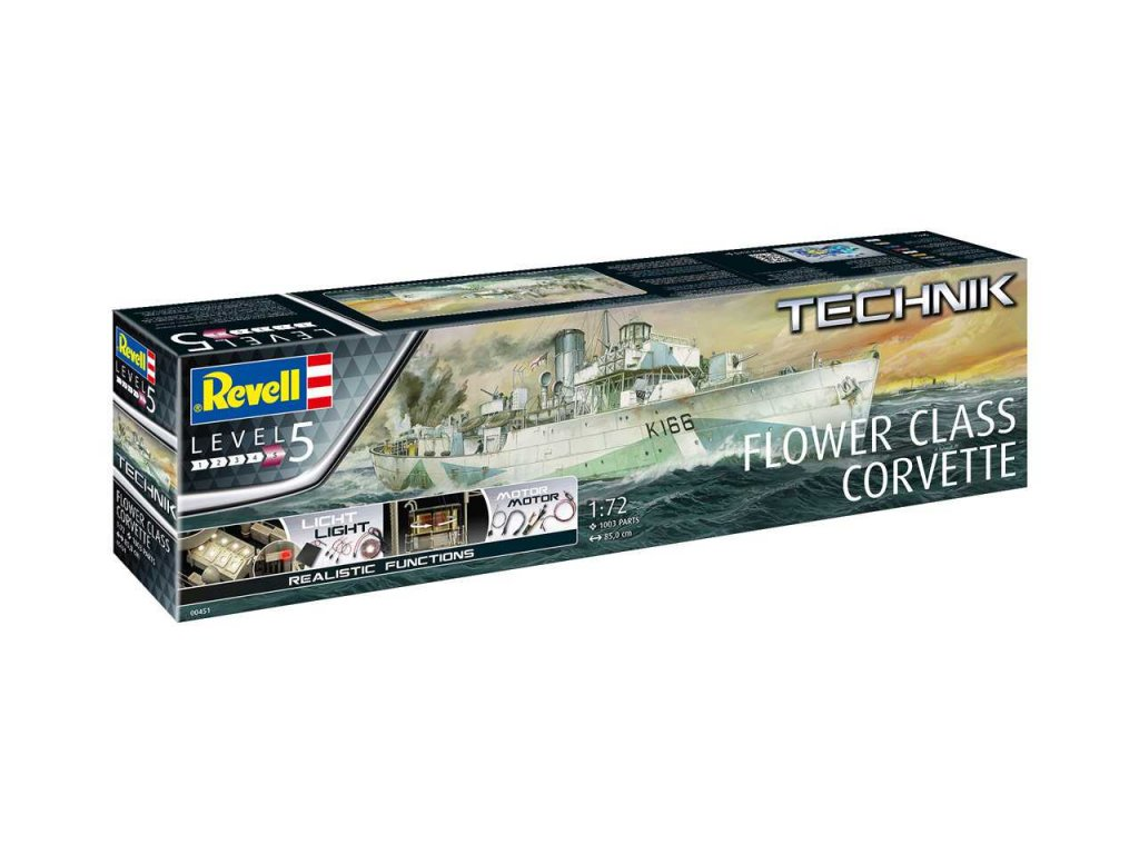 3011 plastovy model technik lod revell 00451 flower class corvette 1 72