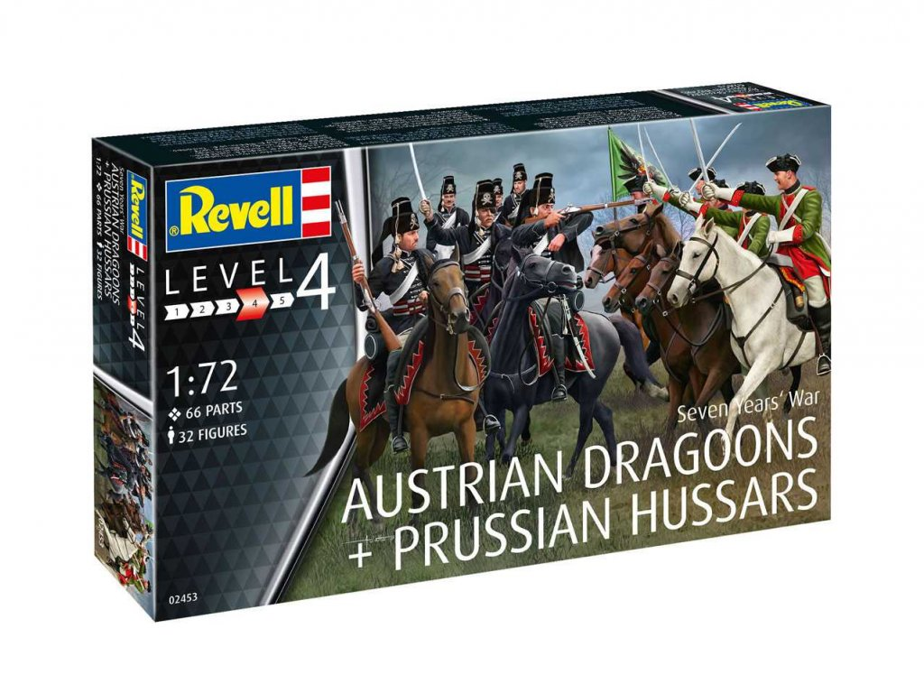 3179 plastovy model figurky 02453 seven years war austrian draggons prussian hussars 1 72
