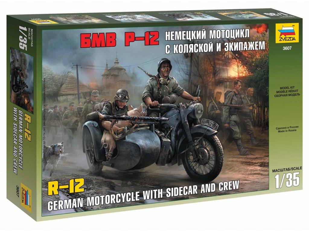 329 model kit military zvezda 3607 german wwii sidecar r12 with crew 1 35