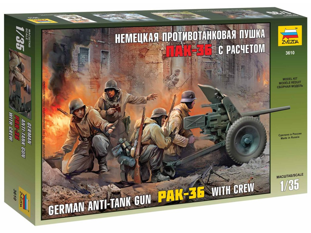338 model kit figurky zvezda 3610 pak 36 with crew 1 35