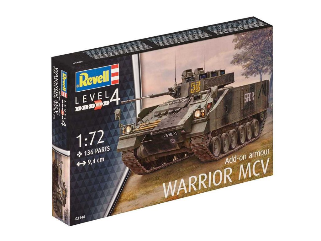 3452 plastovy model military revell 03144 warrior mcv with add on armour 1 72
