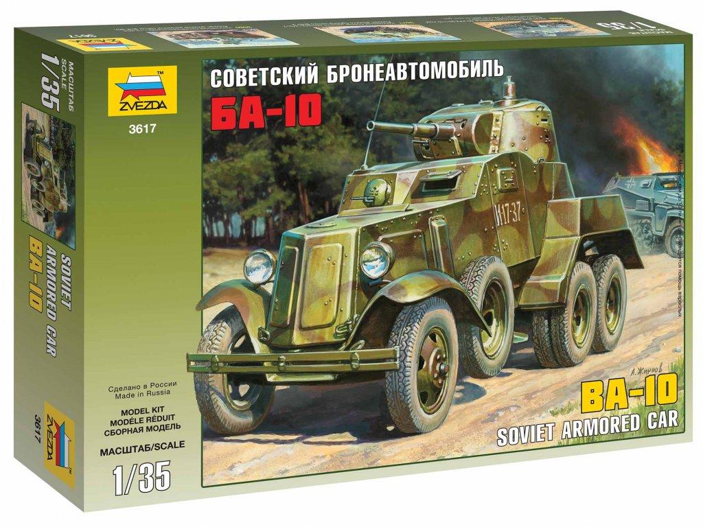 353 model kit military zvezda 3617 soviet armored car ba 10 1 35