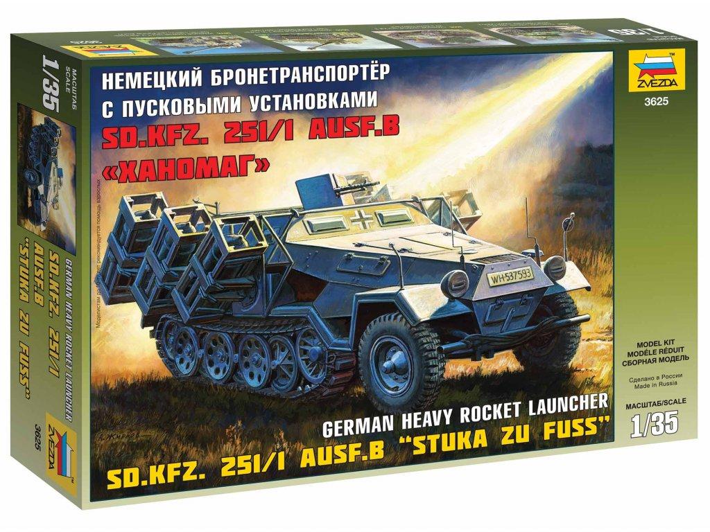 359 model kit military zvezda 3625 sd kfz 251 1 ausf b stuka zu fuss 1 35