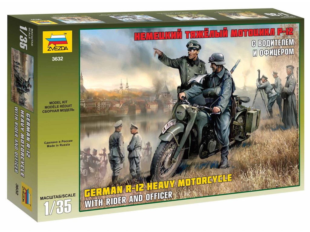 368 model kit military zvezda 3632 german r 12 heavy motorcycle with rider 1 35