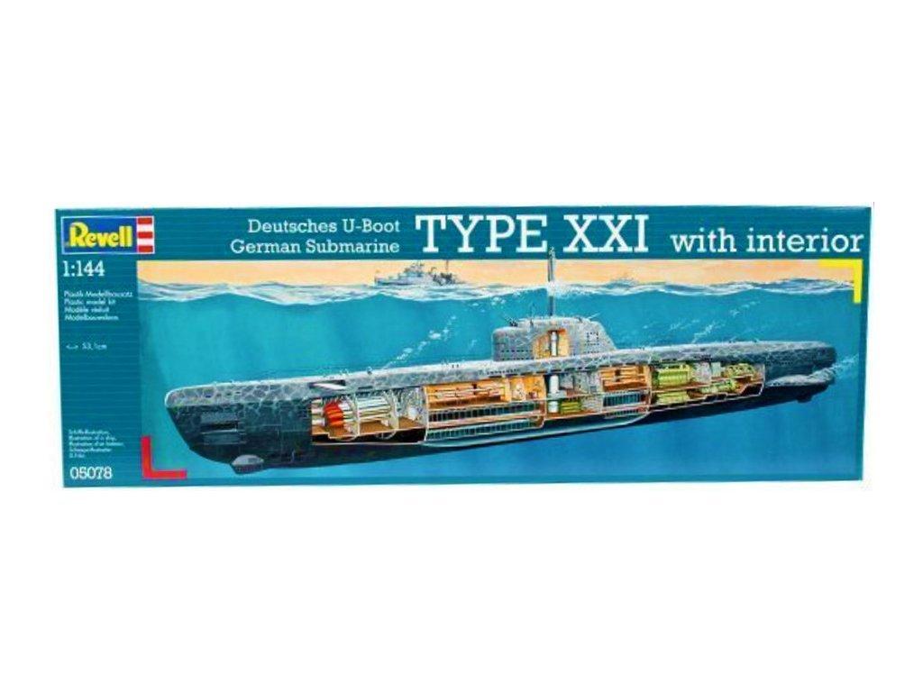 3725 plastovy model ponorka revell 05078 deutsches u boot typ xxi 1 144