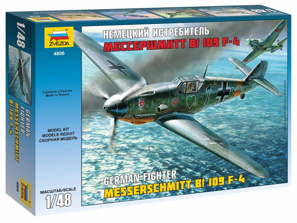 452 model kit lietadlo zvezda 4806 messerschmitt bf 109 f4 1 48