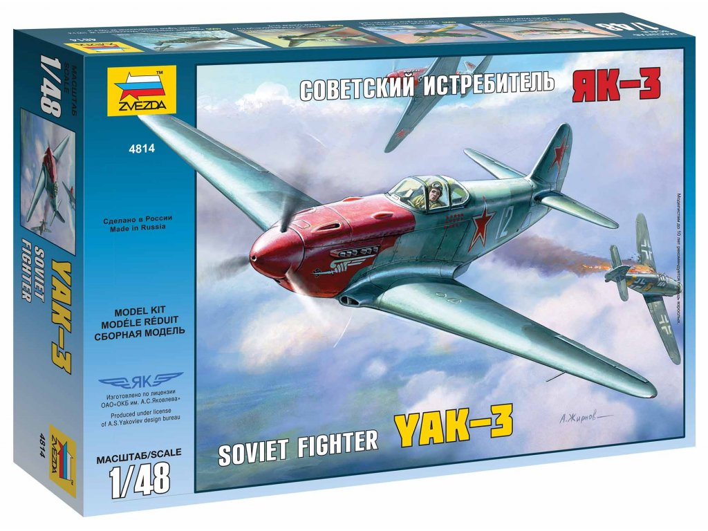 458 model kit lietadlo zvezda 4814 yak 3 soviet wwii fighter 1 48