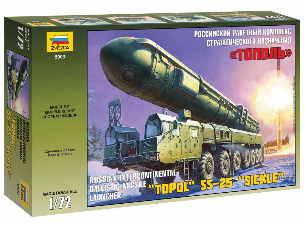 476 model kit military zvezda 5003 ballistic missile launcher topol 1 72