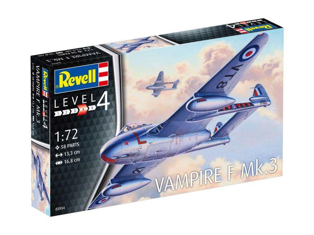 539 plastovy model lietadlo revell 03934 vampire f mk 3 1 72