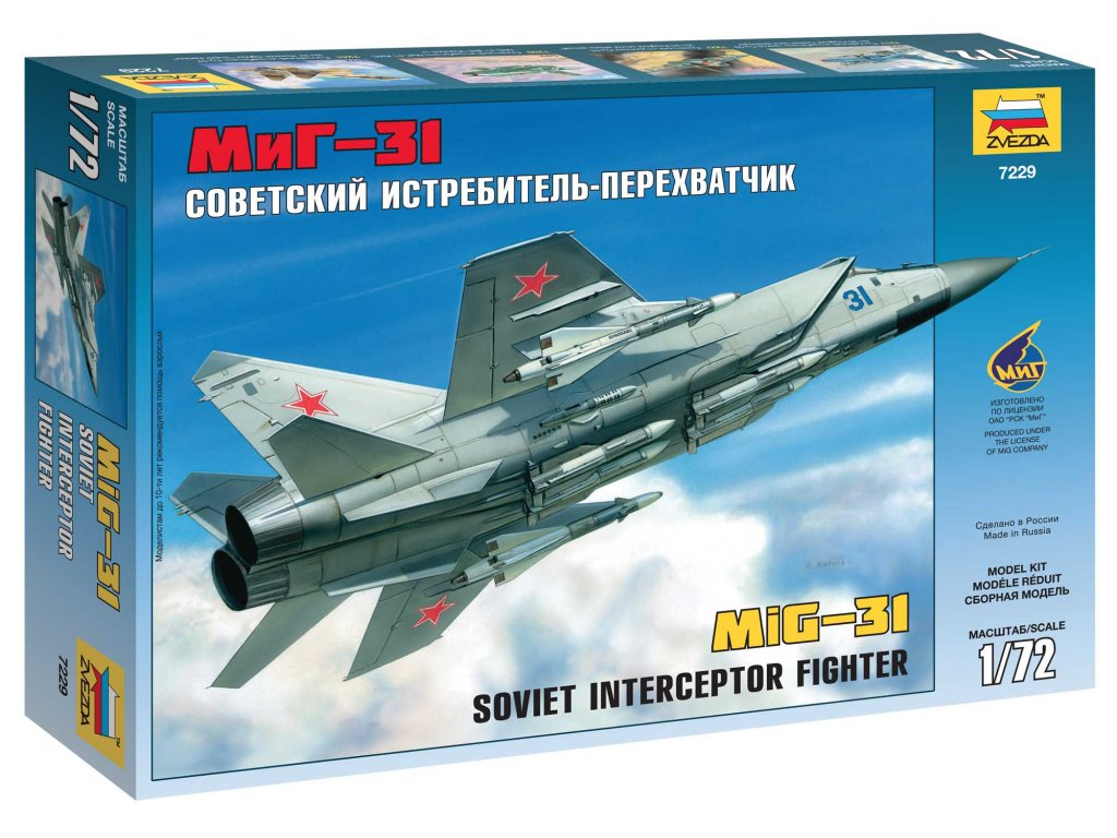 626 model kit lietadlo zvezda 7229 mig 31 soviet interceptor 1 72