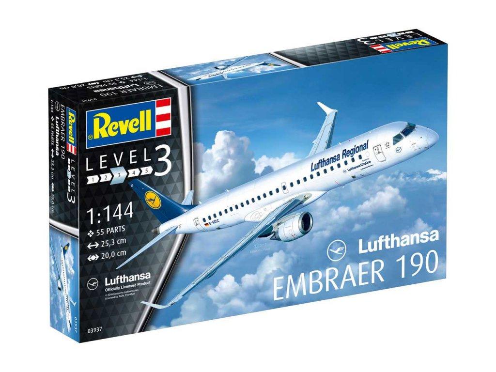 632 plastovy model lietadlo revell 03937 embraer 190 lufthansa 1 144