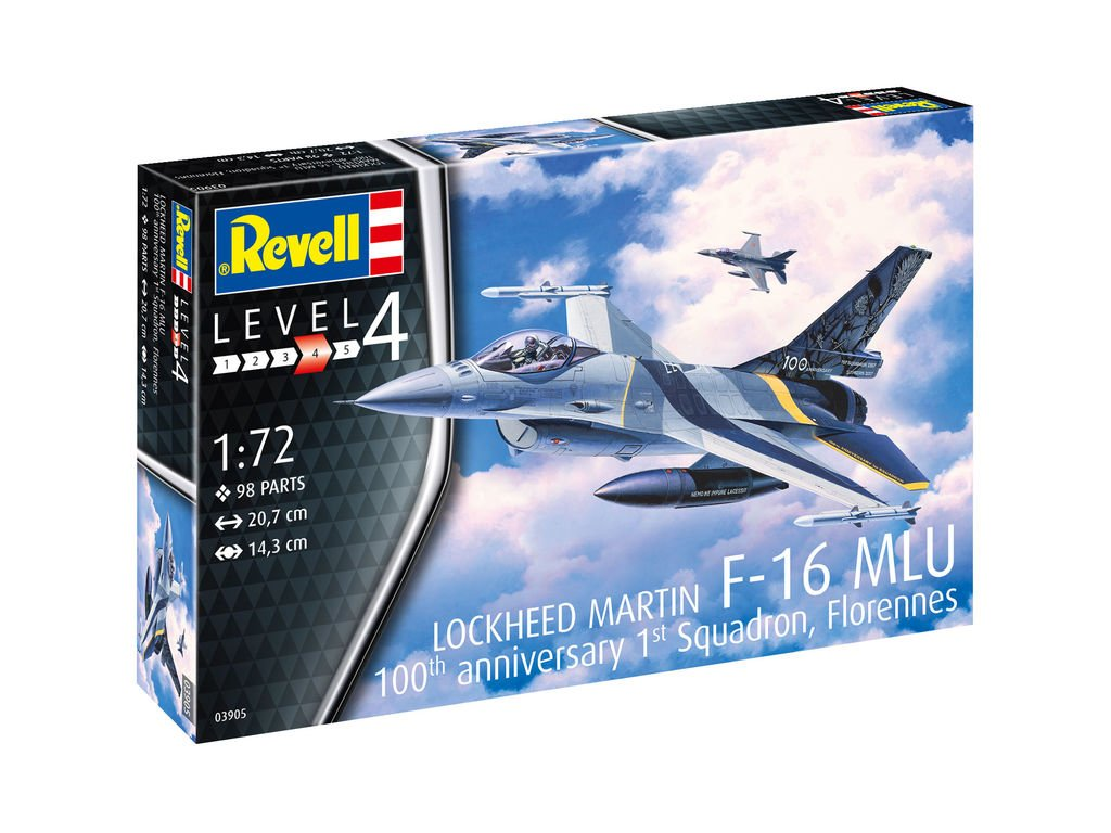 65 plastovy model lietadlo revell 03905 lockheed martin f 16 mlu 1 72