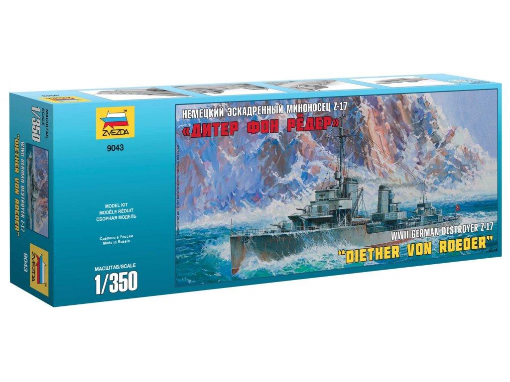 770 model kit lod zvezda 9043 german destroyer z 17 diether von roeder 1 350