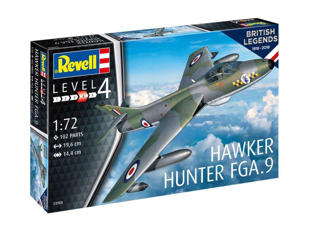 83 plastovy model lietadlo revell 03908 100 years raf hawker hunter fga 9 1 72