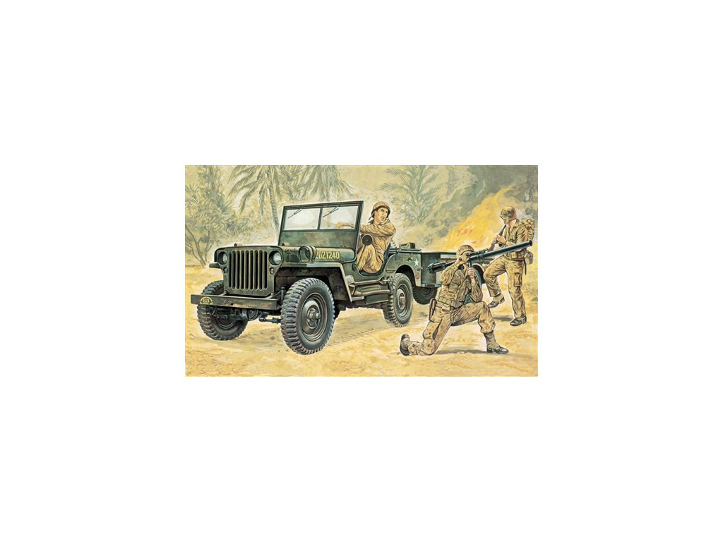 887 model kit military italeri 0314 willys mb jeep with trailer 1 35