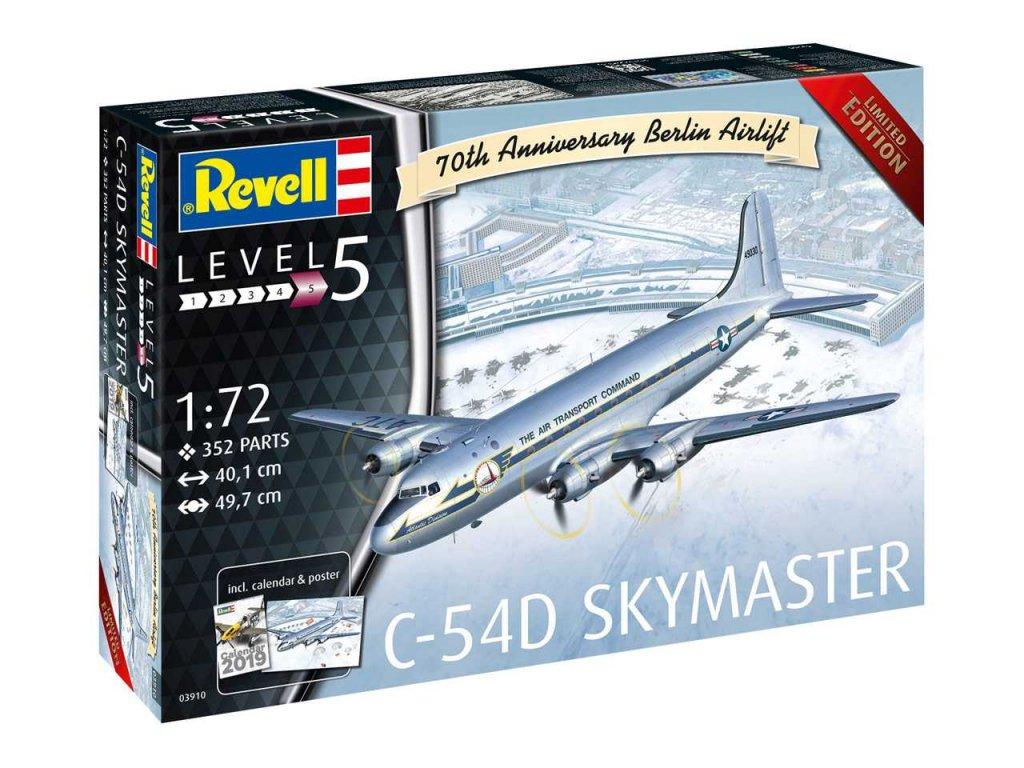 89 plastovy model lietadlo revell 03910 c 54d skymaster berlin airlift 1 72