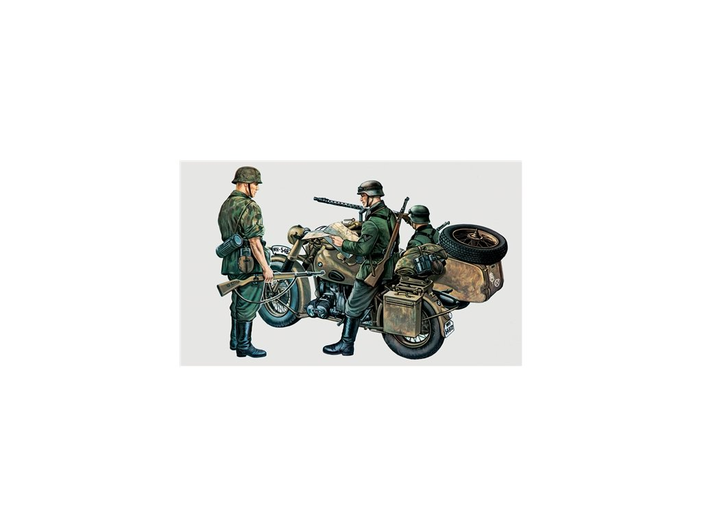 893 model kit military italeri 0315 bmw r75 with sidecar 1 35