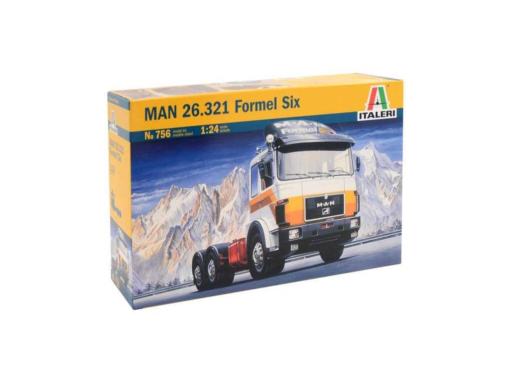 932 model kit truck italeri 0756 man 26 321 formel six 1 24