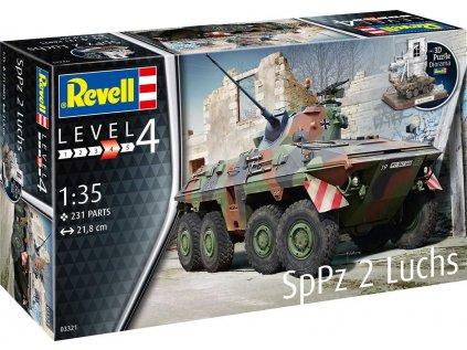 Plastový model military REVELL 03321 - SpPz2 Luchs + 3D Puzzle diorama (1:35)