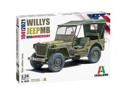 Plastový model auto ITALERI 3635 - Willys Jeep MB (1:24)