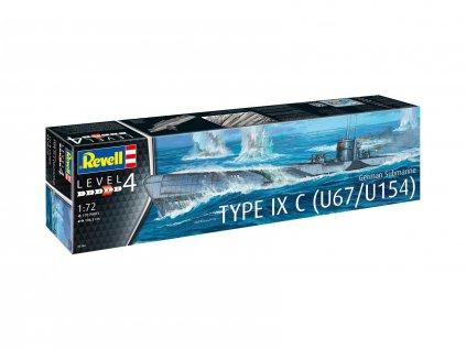 4625 plastovy model ponorka revell 05166 german submarine type ixc u67 u154 1 72