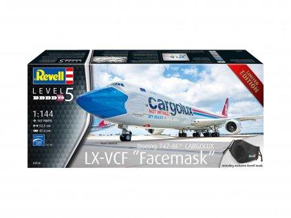 """Plastový model lietadlo REVELL 03836 - Boeing 747-8F CARGOLUX LX-VCF """"Facemask"""" (1:144)"""