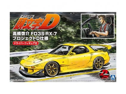 Model Kit auto Aoshima AO05955 - Initial D Initial D FD3S RX-7 Takahashi Keisuke Project D Ver. w/Driver Figure (1:24)