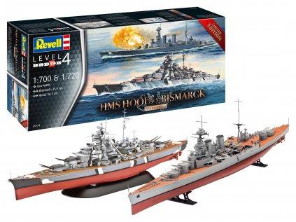 Plastový model loď REVELL 05174 - Battle Set HMS HOOD vs. BISMARCK - 80th Anniversary (1:700)