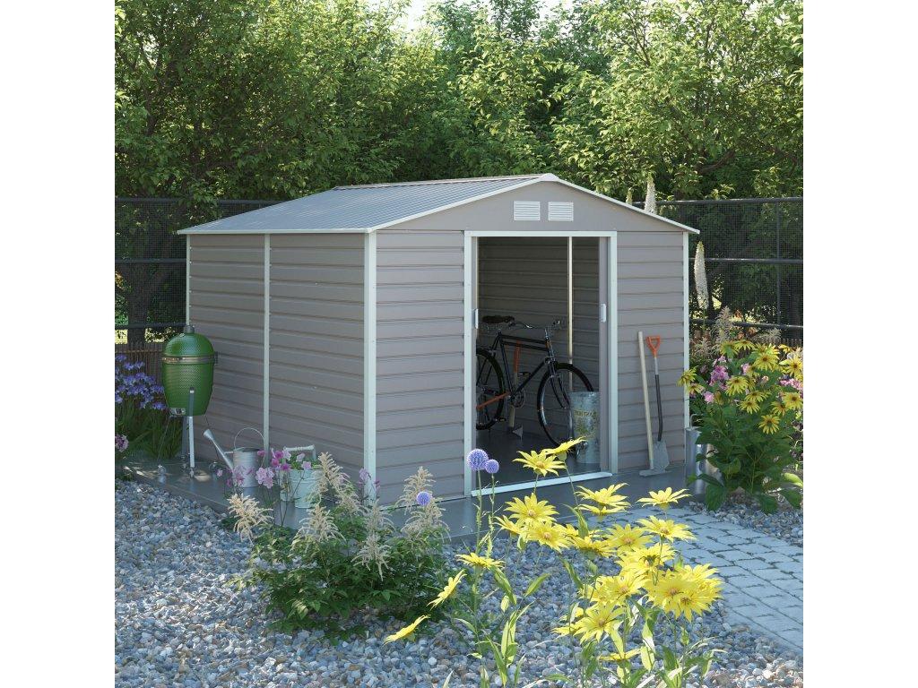 Zahradní domek G21 GAH 884 - 277 x 319 cm, šedý  + kotvící sada do betonu ZDARMA!