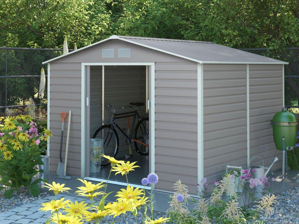 Zahradní domek G21 GAH 706 - 277 x 255 cm, šedý  + kotvící sada do betonu v hodnotě 999,00 Kč ZDARMA!