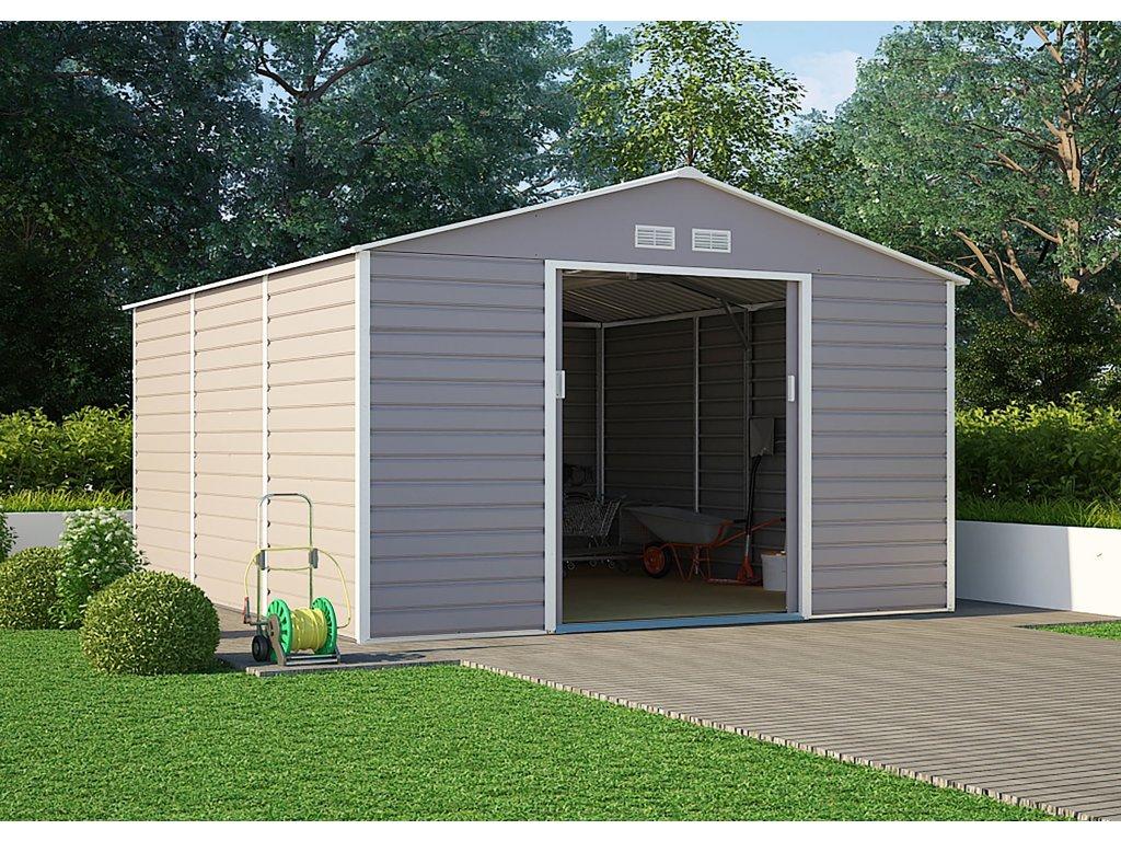 Zahradní domek G21 GAH 1300 - 340 x 382 cm, šedý  + kotvící sada do betonu v hodnotě 999,00 Kč ZDARMA!