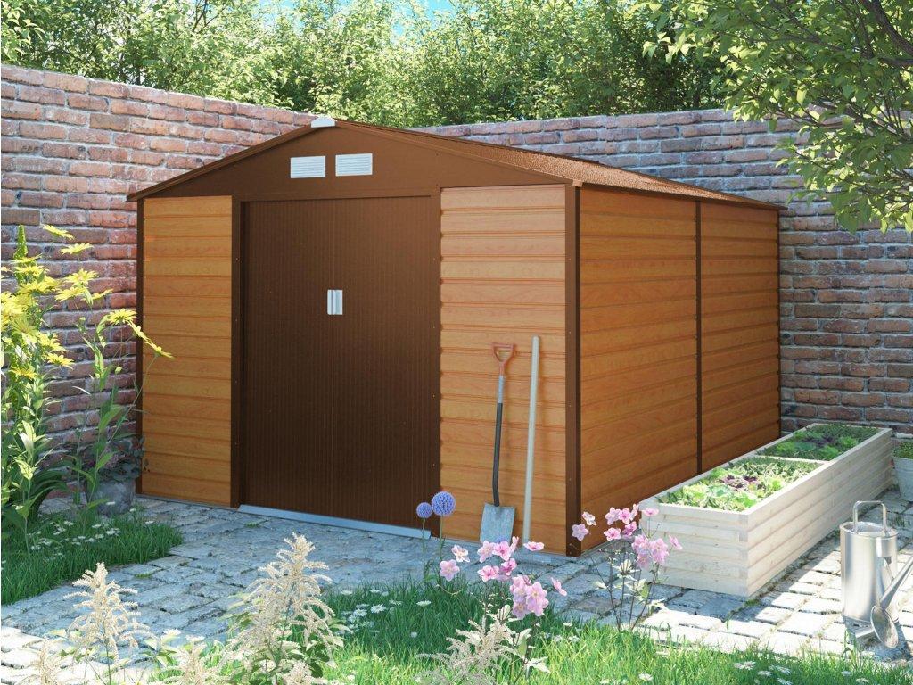 Zahradní domek G21 GAH 884 - 277 x 319 cm, hnědý  + kotvící sada do betonu v hodnotě 999,00 Kč ZDARMA!