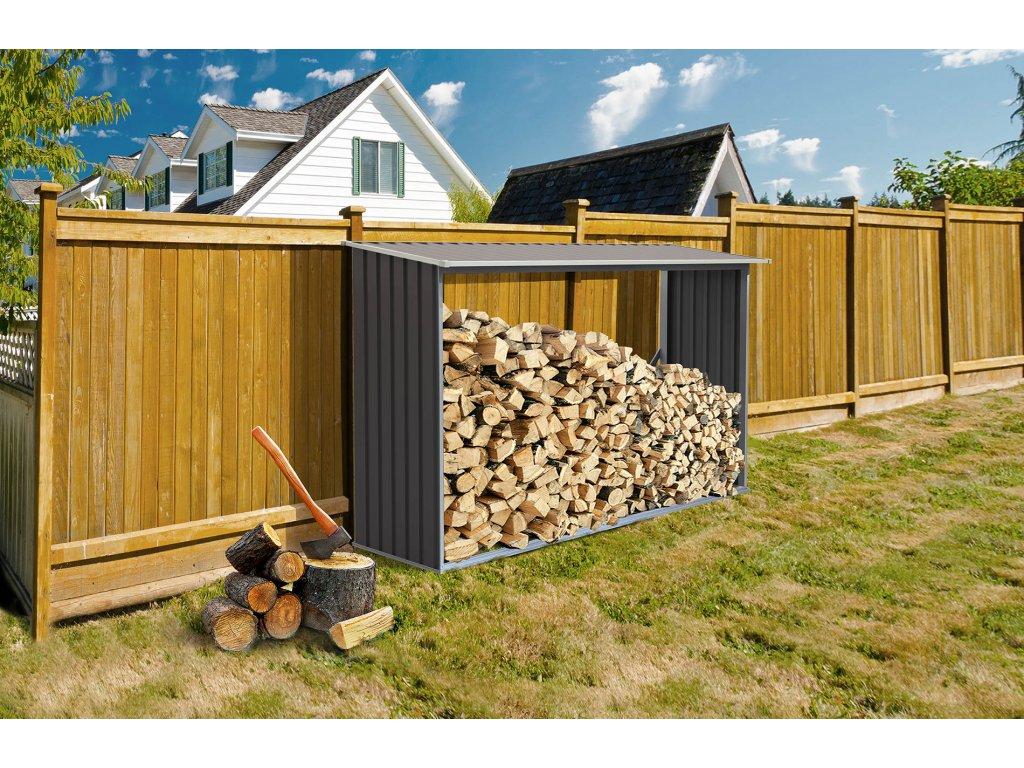 Přístřešek na dřevo G21 WOH 181 - 242 x 75 cm, šedý  + Štípací sekera 1000g, v hodnotě 299,00 Kč ZDARMA!