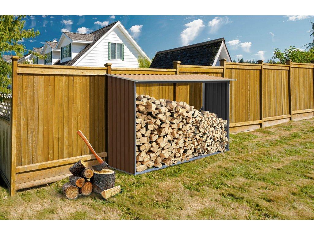 Přístřešek na dřevo G21 WOH 181 - 242 x 75 cm, hnědý  + Štípací sekera 1000g, v hodnotě 299,00 Kč ZDARMA!