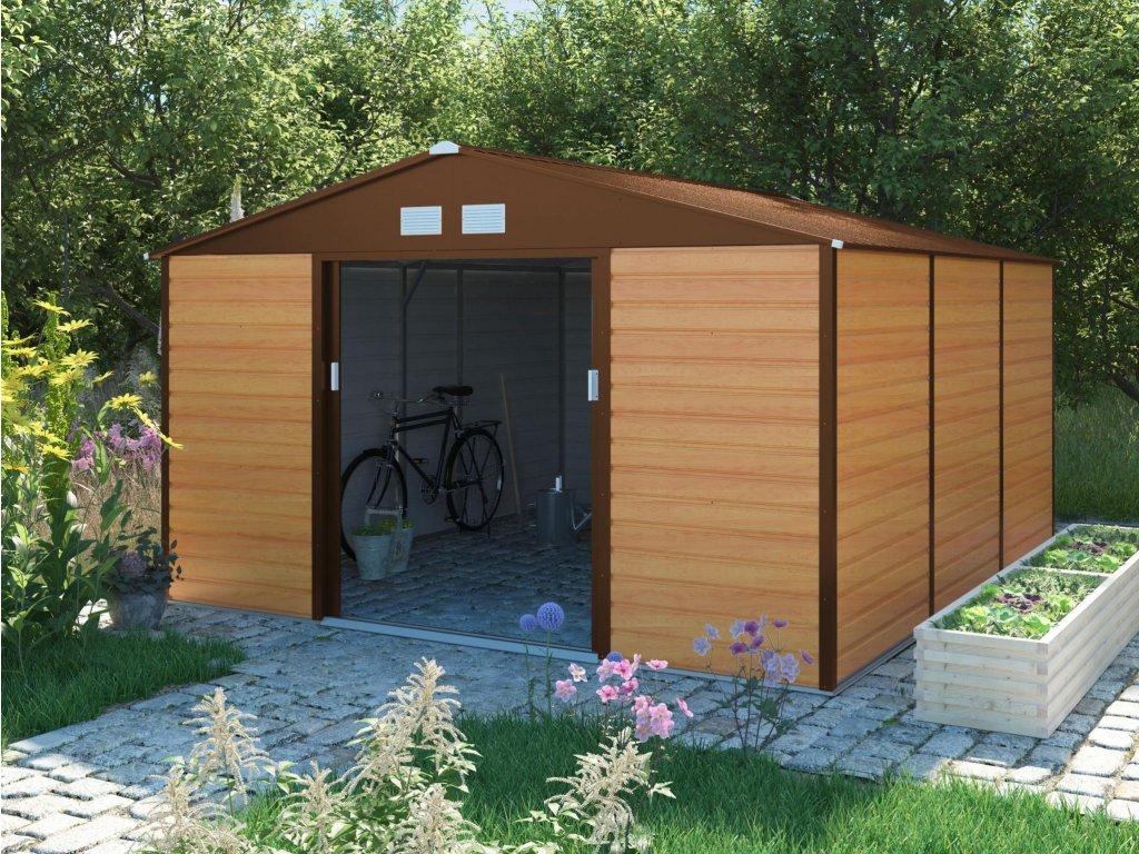 Zahradní domek G21 GAH 1300 - 340 x 382 cm, hnědý  + kotvící sada do betonu ZDARMA!