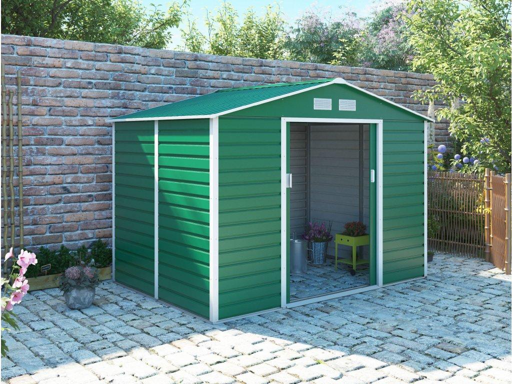 Zahradní domek G21 GAH 529 - 277 x 191 cm, zelený  + kotvící sada do betonu ZDARMA!