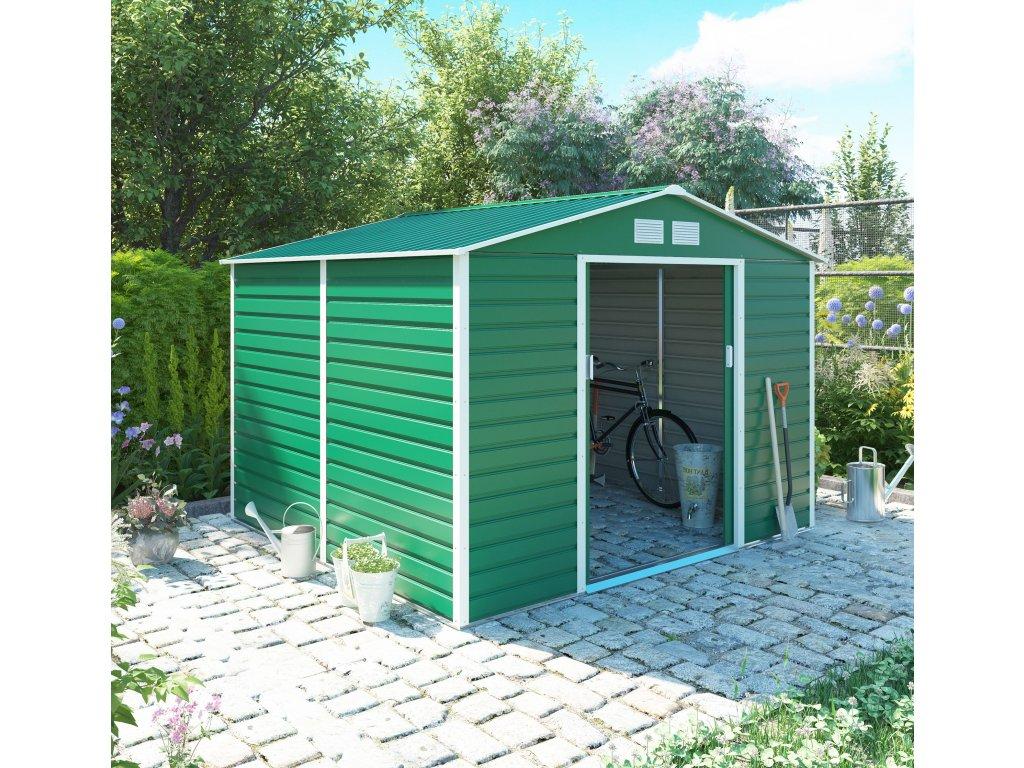 Zahradní domek G21 GAH 706 - 277 x 255 cm, zelený  + kotvící sada do betonu ZDARMA!