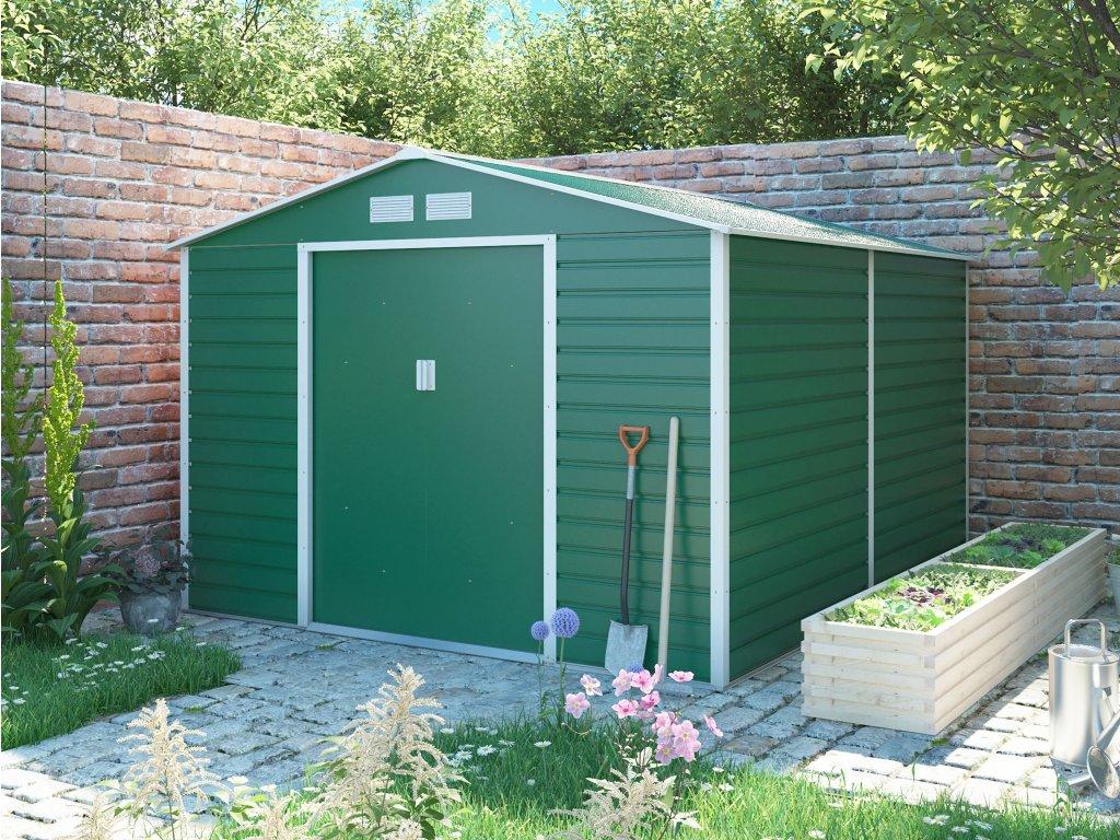 Zahradní domek G21 GAH 884 - 277 x 319 cm, zelený  + kotvící sada do betonu ZDARMA!