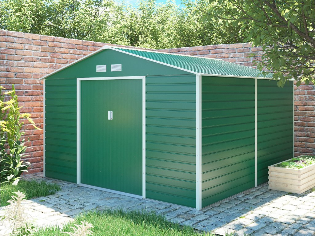 Zahradní domek G21 GAH 1085 - 340 x 319 cm, zelený  + kotvící sada do betonu ZDARMA!