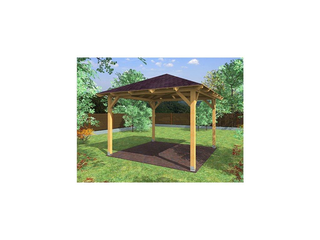 Zahradní altán s jehlanovou střechou