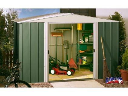 Zahradní domek DRESDEN 1012 313x370 cm (11,58 m2) zelený  + kotvící sada do betonu v hodnotě 999,00 Kč ZDARMA!