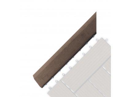 Přechodová lišta G21 Indický teak pro WPC dlaždice, 38,5 x 7,5 cm rohová (levá)