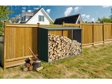 Přístřešek na dřevo G21 WOH 181 - 242 x 75 cm, zelený  + Štípací sekera 1000g, v hodnotě 299,00 Kč ZDARMA!