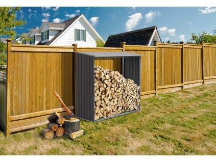 Přístřešek na dřevo G21 WOH 136 - 182 x 75 cm, šedý  + Štípací sekera 1000g, v hodnotě 299,00 Kč ZDARMA!