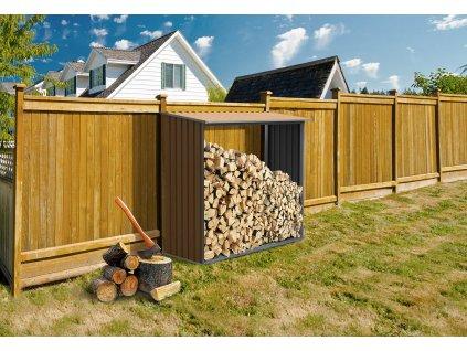 Přístřešek na dřevo G21 WOH 136 - 182 x 75 cm, hnědý  + Štípací sekera 1000g, v hodnotě 299,00 Kč ZDARMA!