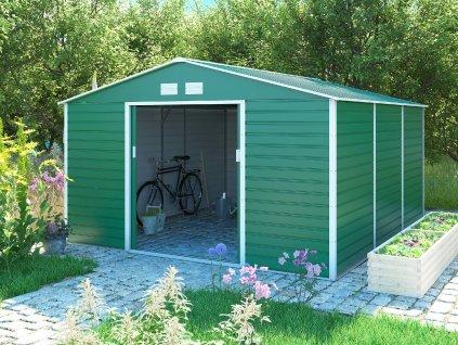 Zahradní domek G21 GAH 1300 - 340 x 382 cm, zelený  + kotvící sada do betonu v hodnotě 999,00 Kč ZDARMA!