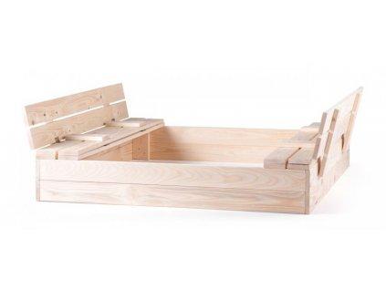 Pískoviště Woody dřevěné s krytem, se 2 lavicemi, natur