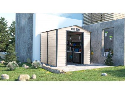 Zahradní domek G21 GAH 407 - 213 x 191 cm, béžovo šedý