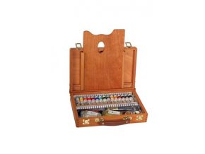 Dřevěný kufřík s mistrovskými olejovými barvami OH 15 x 18 ml