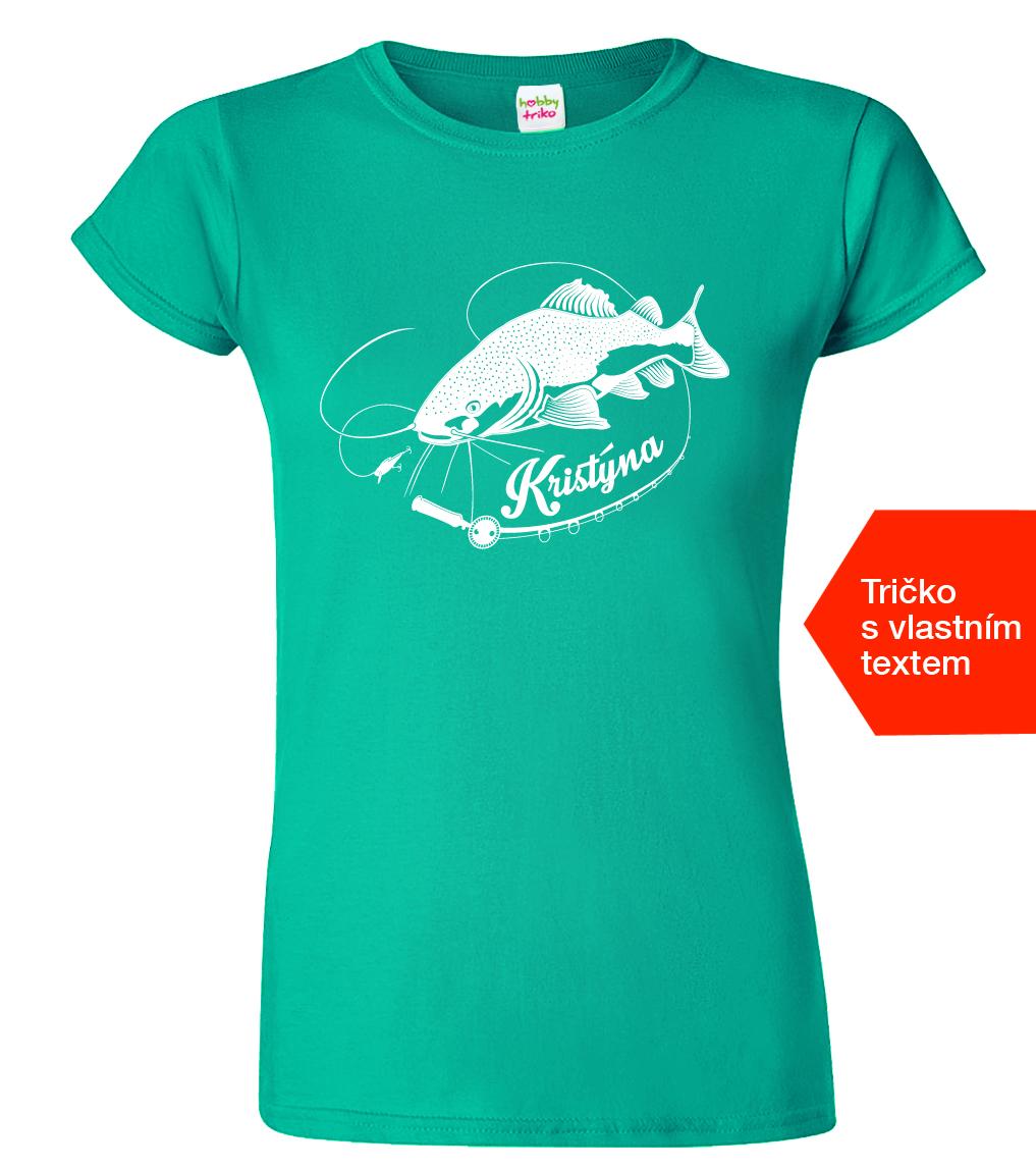 e3613cdc6e8 Dámské rybářské tričko se jménem - Sumec velký - www.HobbyTriko.cz